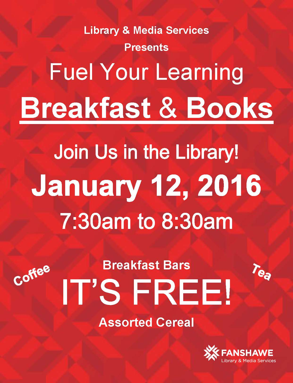 Breakfast and Books is back! Join us January 12, 2016 from 7:30 to 8:30am for coffee, tea, cereal and breakfast bars