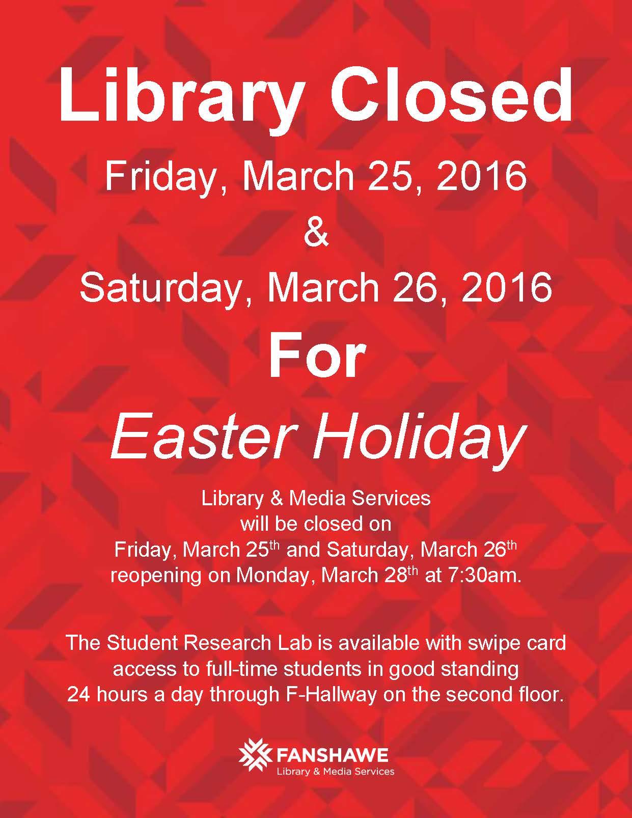 Easter Closure - Mar16