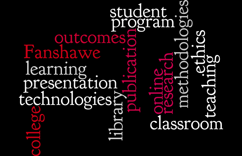 Word map highlighting research related words such as technologies, presentation, teaching and more