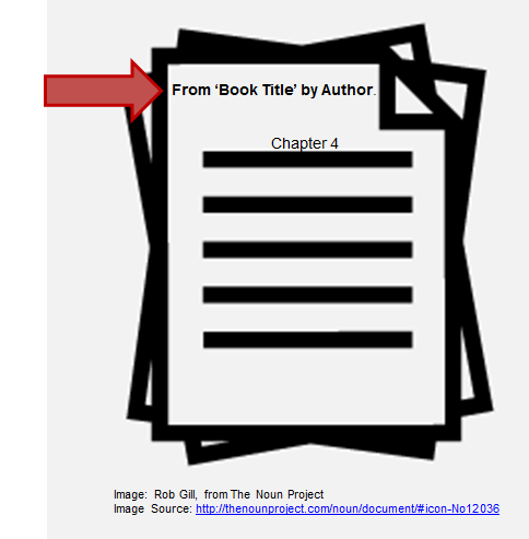 "Image of pages with ""From 'Book Title' by Author. Chapter 4"" on it"