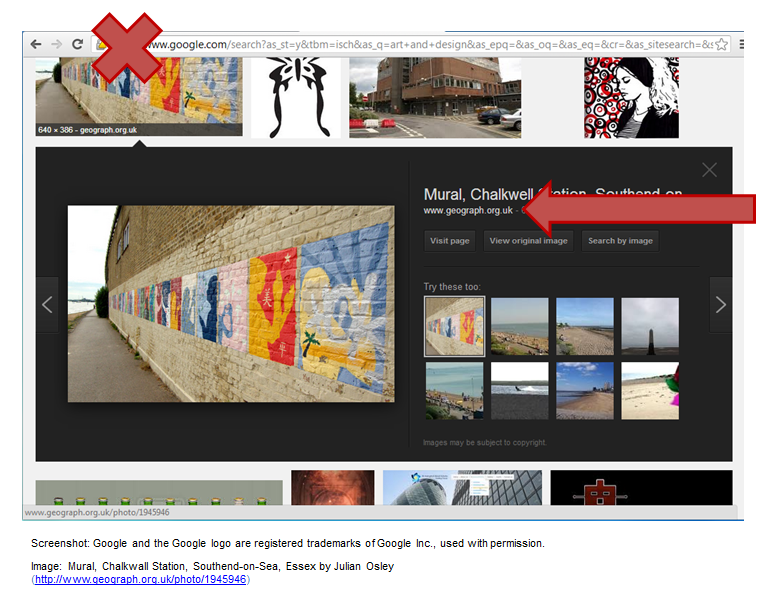 Example showing Google image search is not a source with an arrow pointing the the URL for the correct source