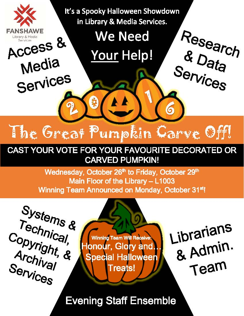 Come to the main floor of the library October 26 to 29 to cast your vote in the staff pumpkin carving competition. Winning team will be announced on October 31.
