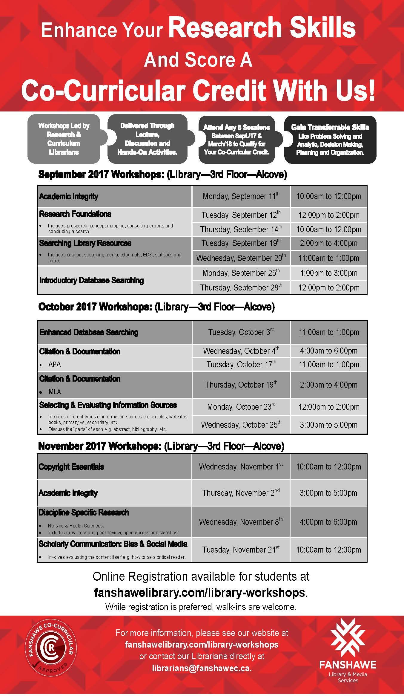 For full list of co-curricular credit workshops and to register go to http://www.fanshawelibrary.com/library-workshops/