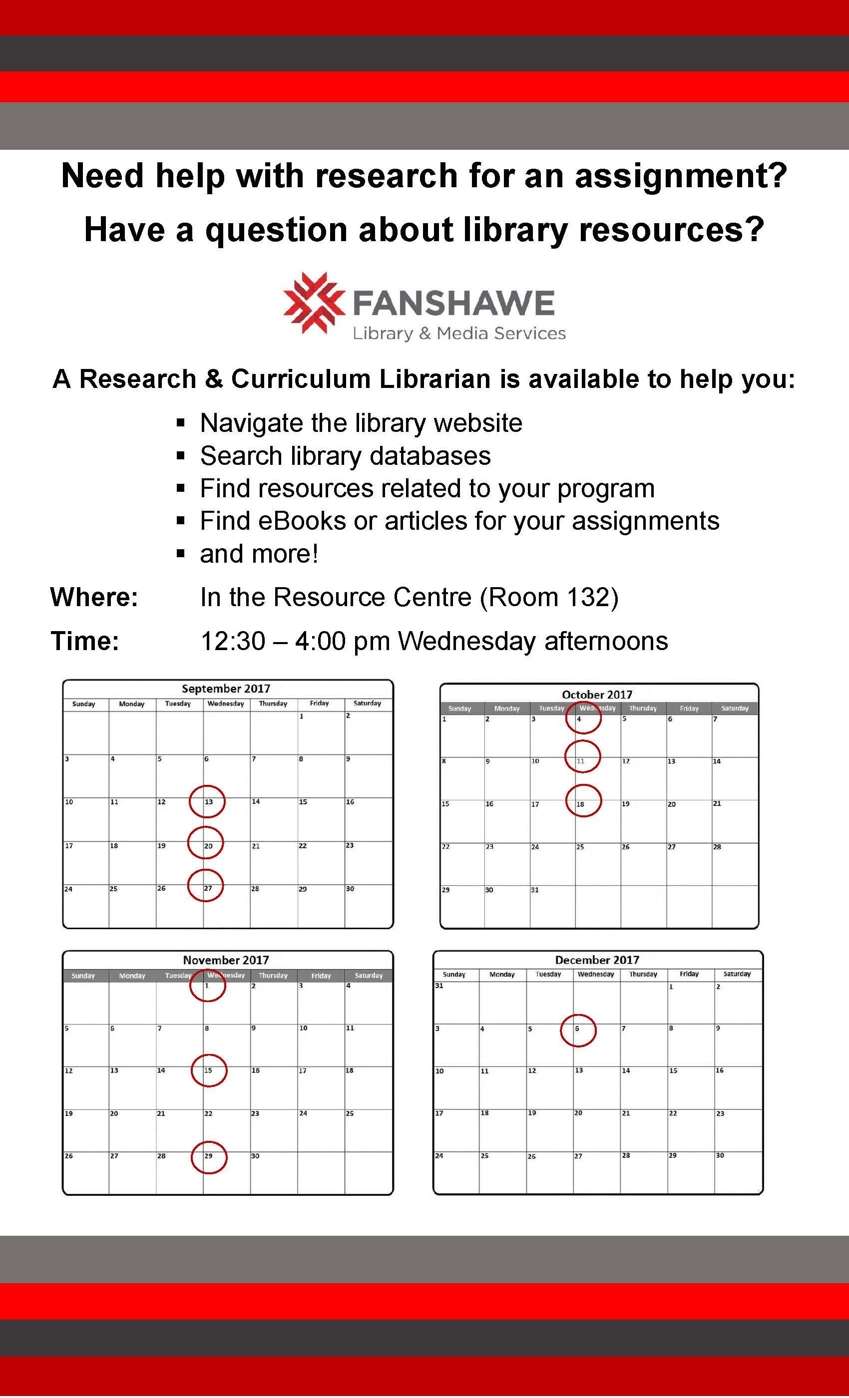 A librarian will be available at the Woodstock Campus most Wednesdays of the Fall 2017 semester to assist with research questions, answer questions about accessing library resources, and any other questions you may have. Dates and times listed below image.