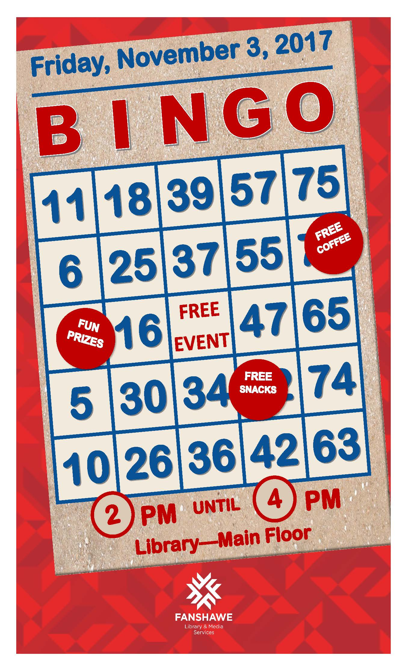 Come play BINGO in the library on Friday November 3rd from 2 to 4 pm. The event takes place on the main floor and is free to all!