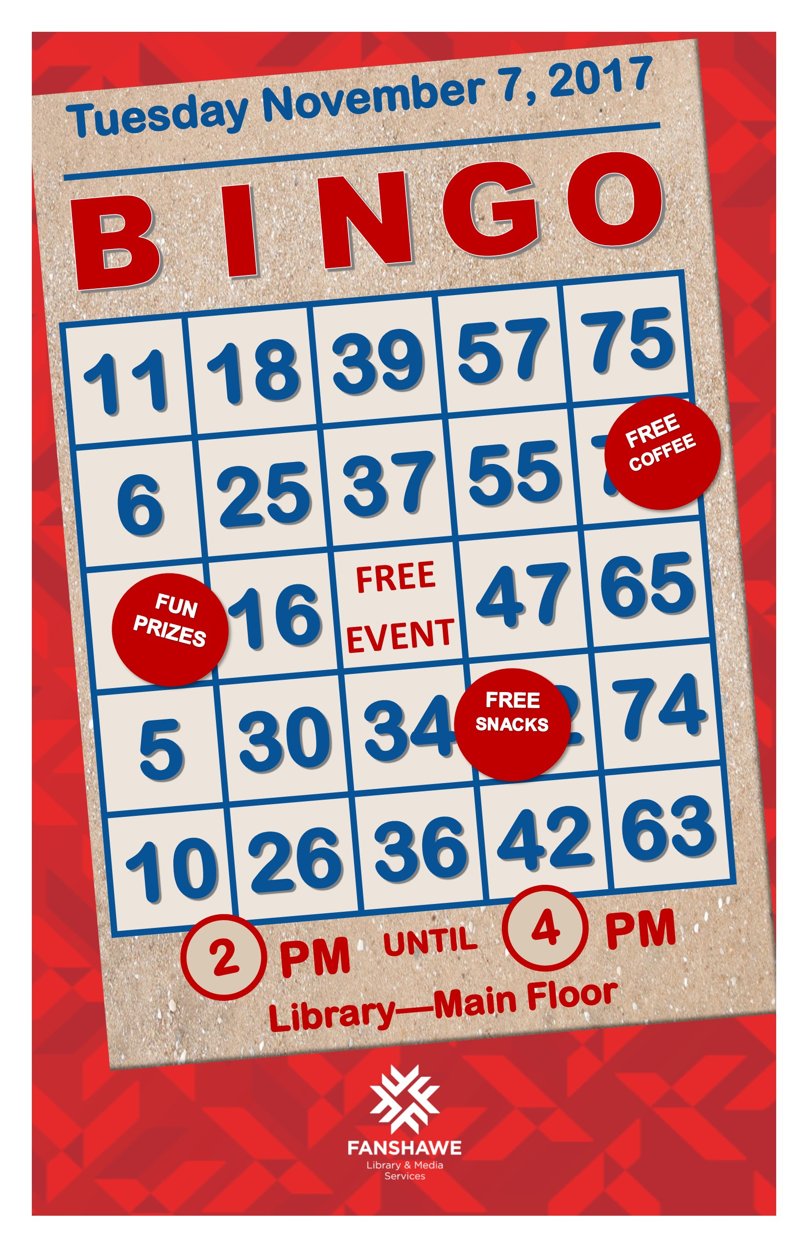 Come play BINGO in the library on Tuesday November 7th from 2 to 4 pm. The event takes place on the main floor and is free to all!