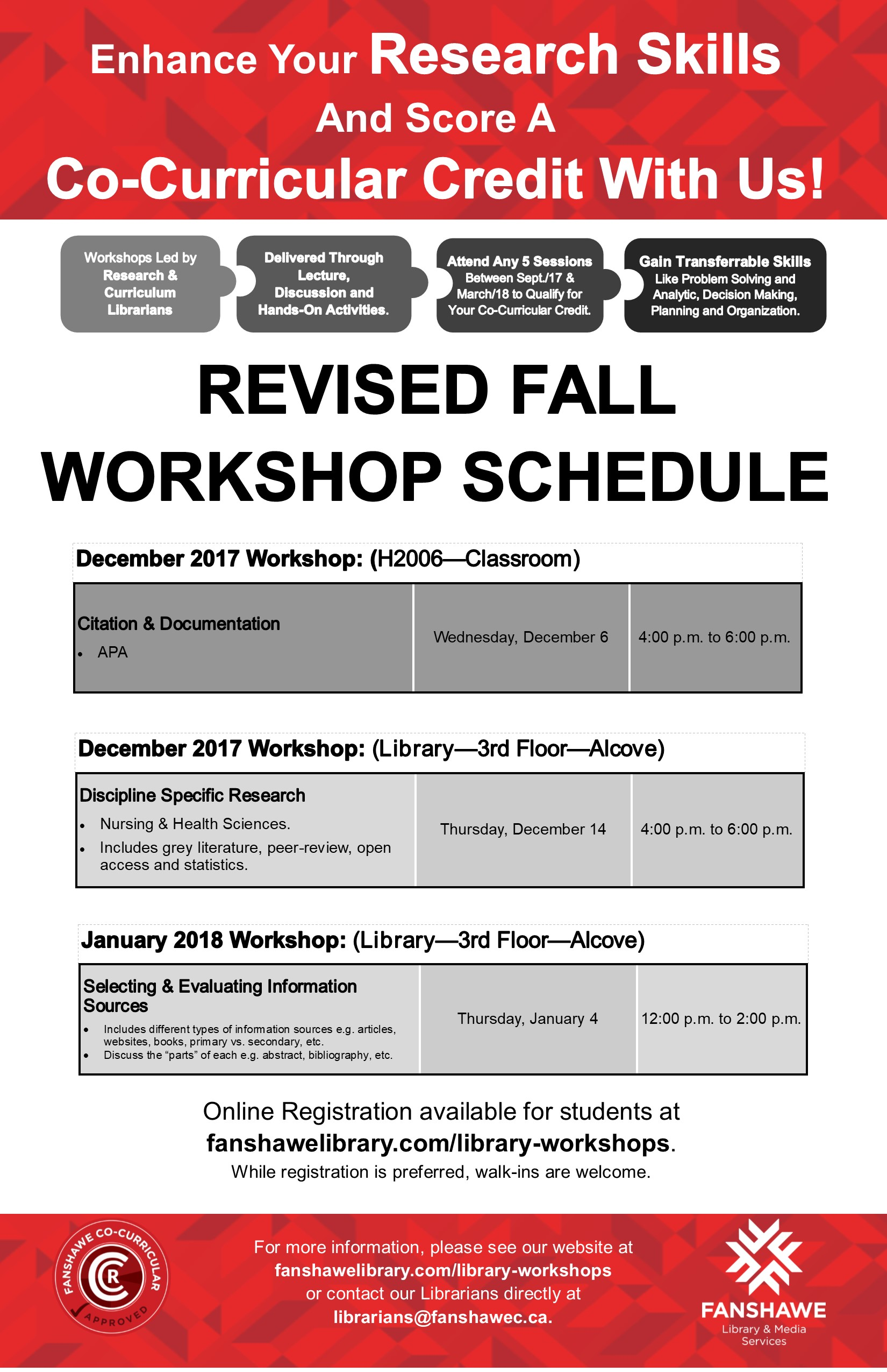 Revised fall CCR wokshop schedule: 1) APA Citation & Documentation workshop to be held Wednesday December 6 from 4 to 6 pm. 2) Discipline specific research for nursing and health sciences workshop to be held Thursday December 14 from 4 to 6 pm. 3) Selecting and evaluating information sources workshop to be held Thursday January 4 from 12 noon to 2 pm. Register at fanshawelibrary.com/library-workshops or email librarians@fanshawec.ca