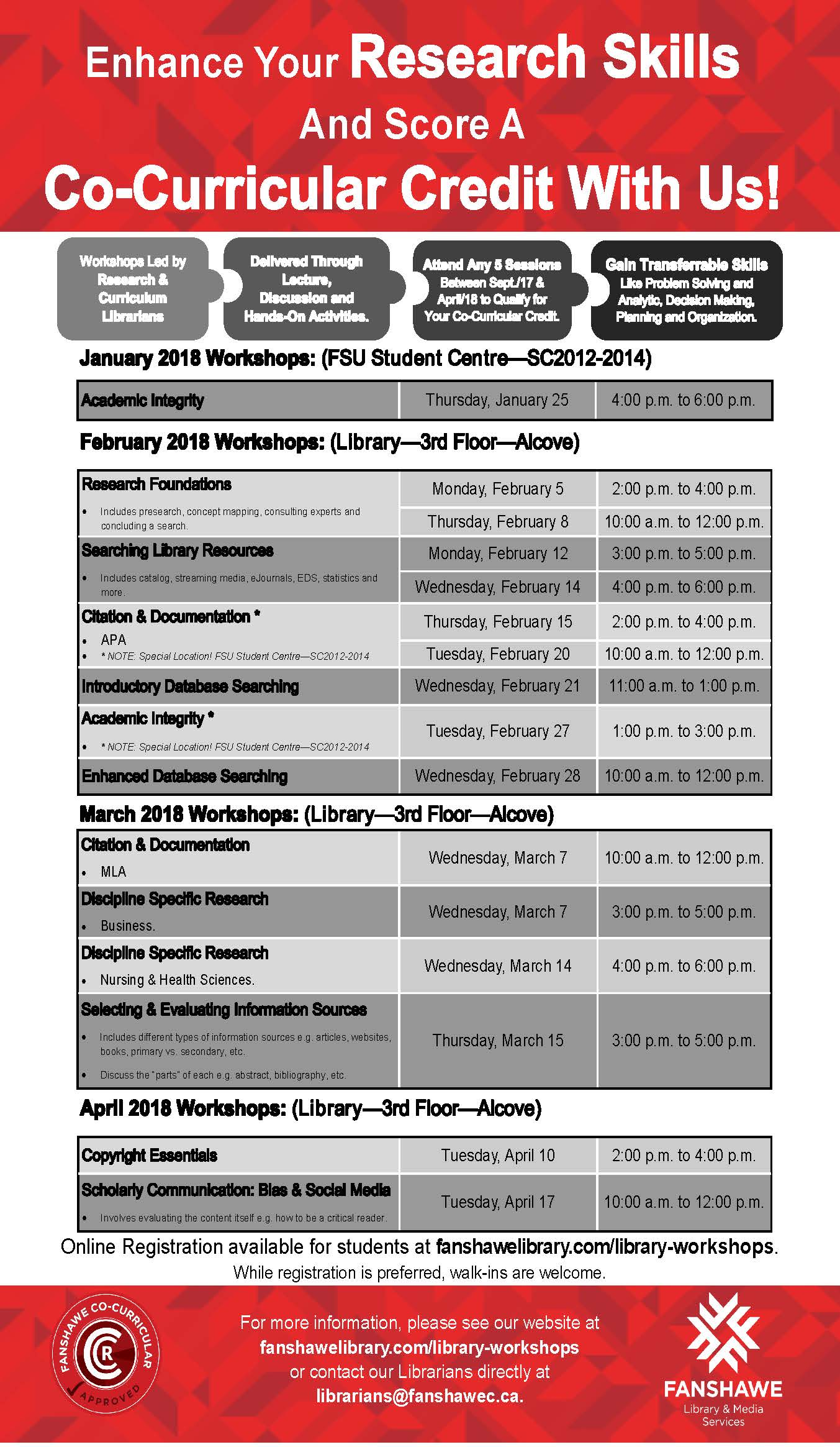 Winter 2018 co-curricular workshop schedule and registration available at: http://www.fanshawelibrary.com/library-workshops/