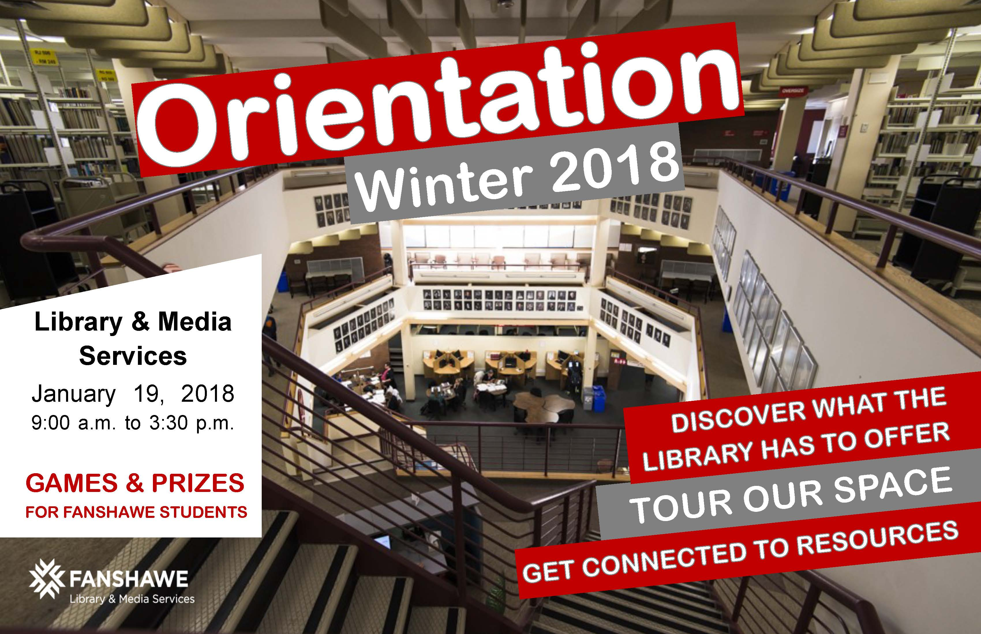 The library will be hosting Winter 2018 orientation day activities on Friday January 19th from 9:00am to 3:30pm. Joinus for games & prizes, discover what the library has to offer, tours our space, and get connected to resources.