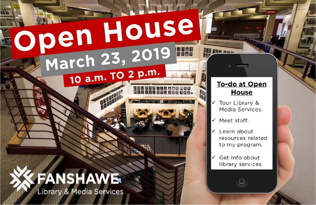 Fanshawe's Open House will be held from 10 a.m. to 2 p.m. on Saturday, March 23rd, 2019. Come tour the library, meet staff, and get information about library resources.