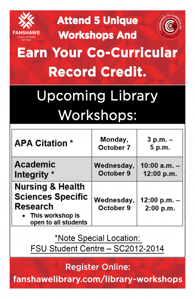 Earn CCR credits at our upcoming library workshops. APA Citation on Monday October 7 from 3 p.m. to 5 p.m. Academic Integrity Wednesday October 9 from 10 a.m. to 12 p.m. Nursing and Health Sciences Specific Research Wednesday October 9 from 12 p.m. to 2 p.m. Workshops are open to all students.