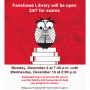 Fanshawe Library will be open 24/7 for exams! From Monday December 2nd at 7:30 a.m. to Wednesday December 18th at 5:00 p.m. Fanshawe ID will be required for entry.