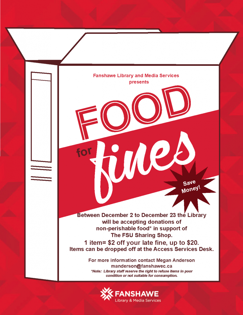 From December 3rd to December 23rd the library will accept donations of non-perishable foods. Donating one item is equal to $2.00 off of your library fines.