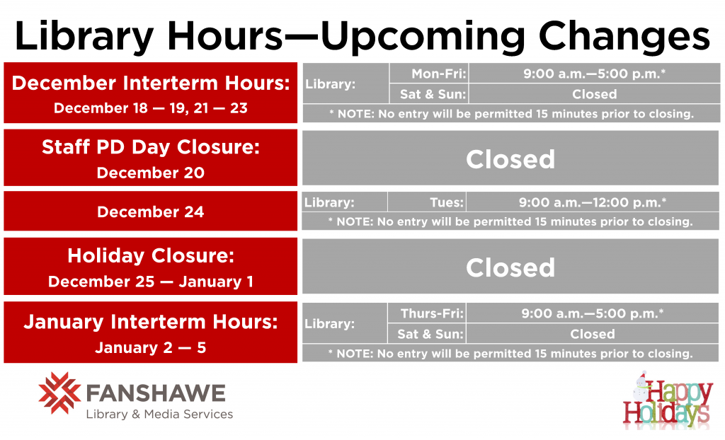 Library hours will change in upcoming weeks. Inter term hours will be 9:00 a.m. to 5:00 p.m. on December 18, 19, 21, 22, and 23. The library will be closed December 20. The library will be open from 9:00 a.m. to 12 noon on December 24. The library will be closed from December 25 to January 1.