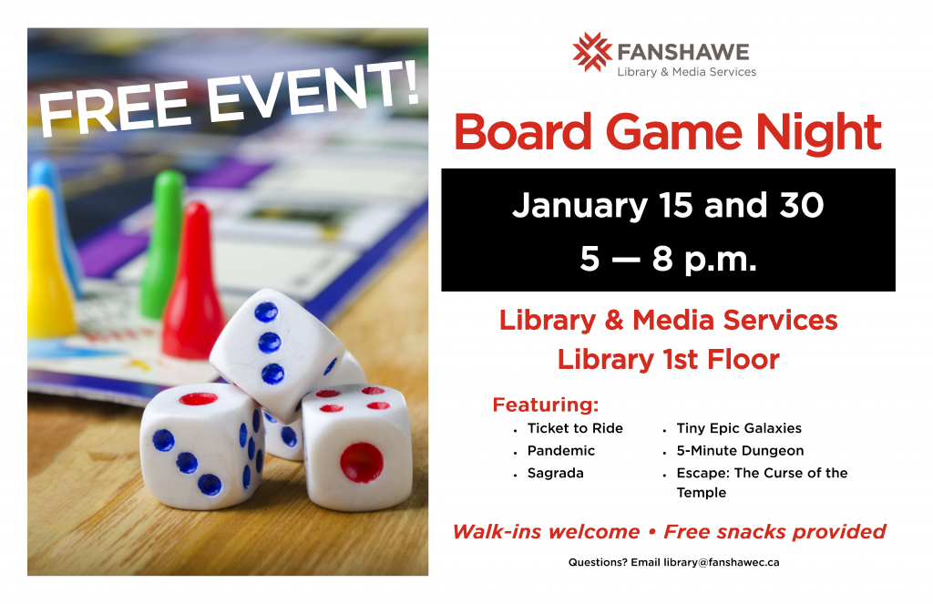 Come to the library for free board game nights! January 15th and January 30th from 5 to 8 p.m. No experience required. Walk-ins welcome.