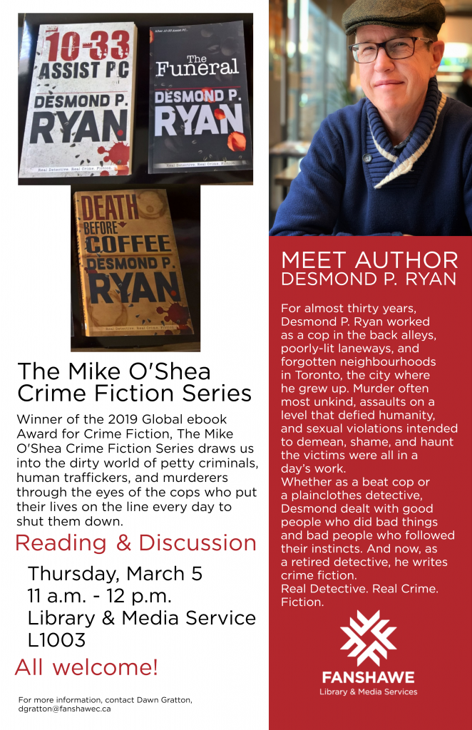 Author Des Ryan reading at the library Thursday March 5 from 11:00 a.m. to 12:00 p.m.