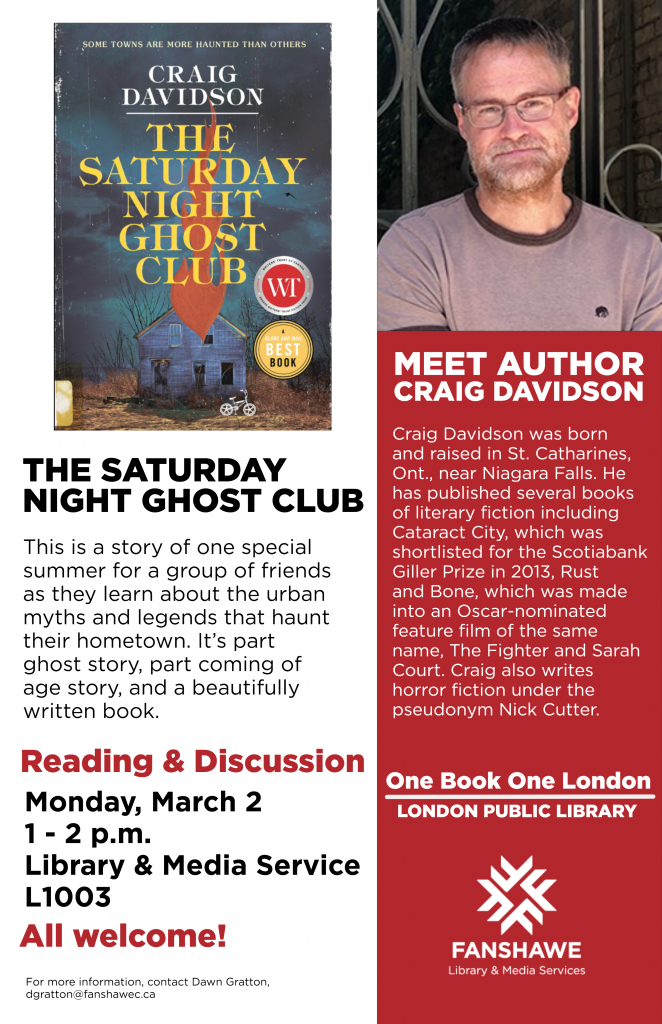Meet Craig Davidson, author of The Saturday Night Ghost Club at the library Monday March 2nd from 1-2pm