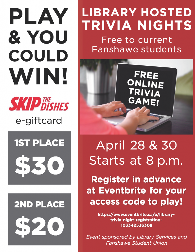Free online trivia hosted by the library! Email for more details.