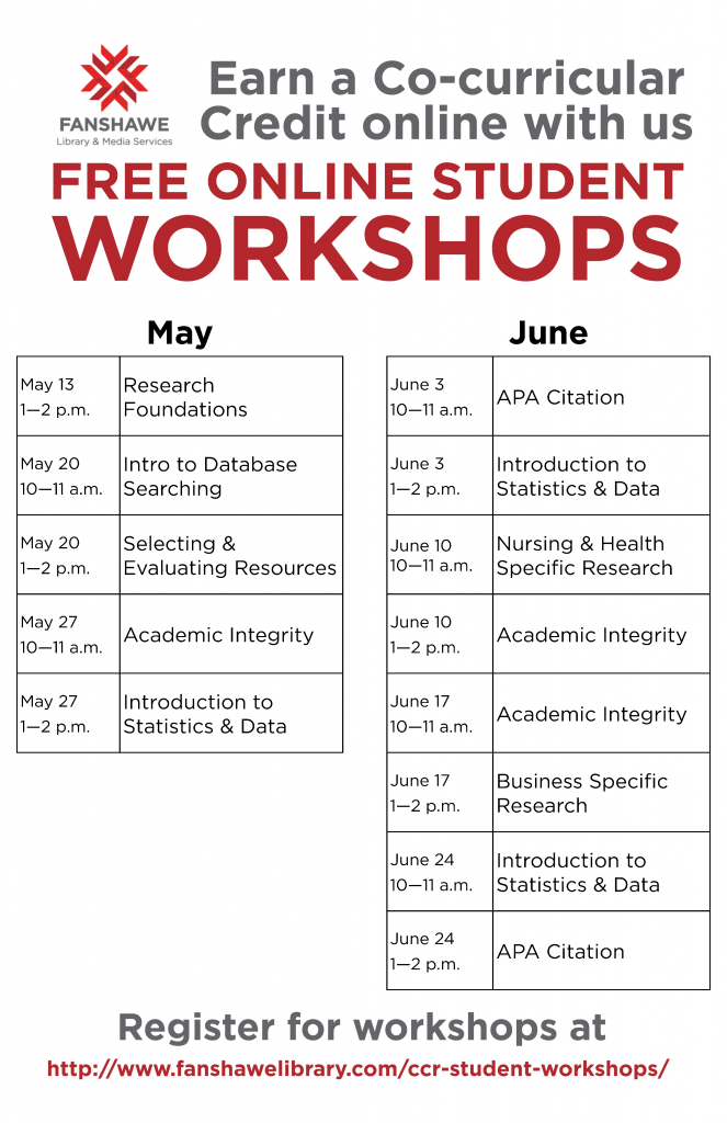 CCR Workshops for May and June are posted! Register at www.fanshawelibrary.com/ccr-student-workshops