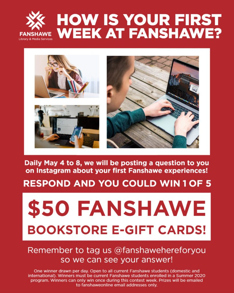 Summer orientation week contest! Respond to the questions posted on our instagram account for a chance to win a $50 gift card each day this week! Follow @ Fanshawe Here For You for full details.
