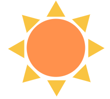 Participate in our Online Summer Scavenger Hunt for a chance to win $100 gift card! Visit Library News for more information. This image is a Sun.