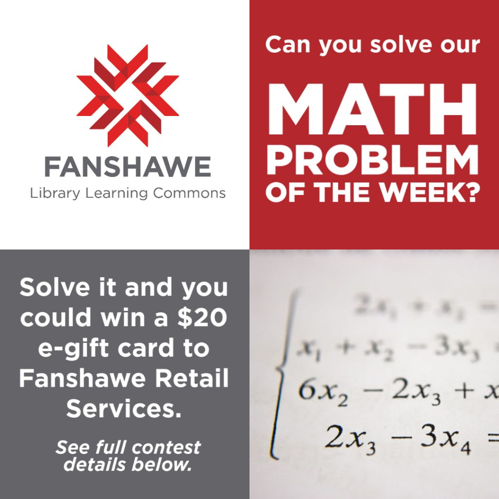 Solve our math problem of the week for a chance to win a prize! Click image for details.