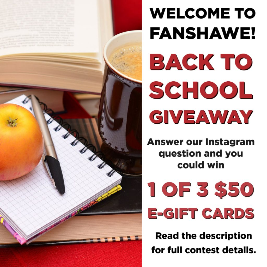 Back to school giveaway. Answer our Instagram question and you could win 1 of 3 $50 e-gift cards. Read the full contest details below